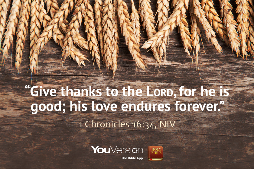 Give thanks to the LORD, for he is good; his love endures forever. — 1 Chronicles 16:34, NIV