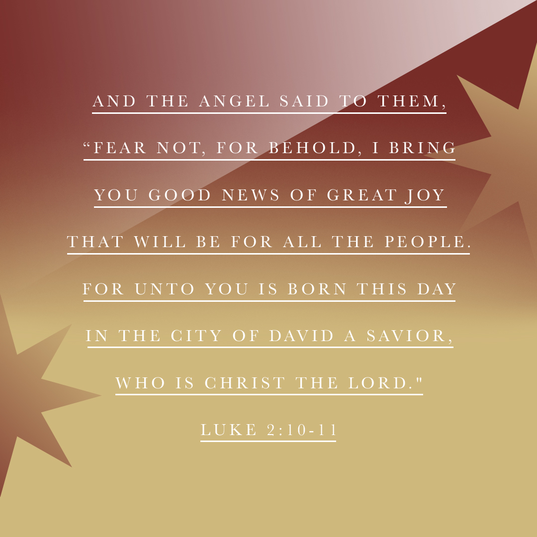 "And the angel said to them, ""Fear not, for behold, I bring you good news of great joy that will be for all the people. For unto you is born this day in the city of David a Savior, who is Christ the Lord."" - Luke 2:10-11 - Verse Image"