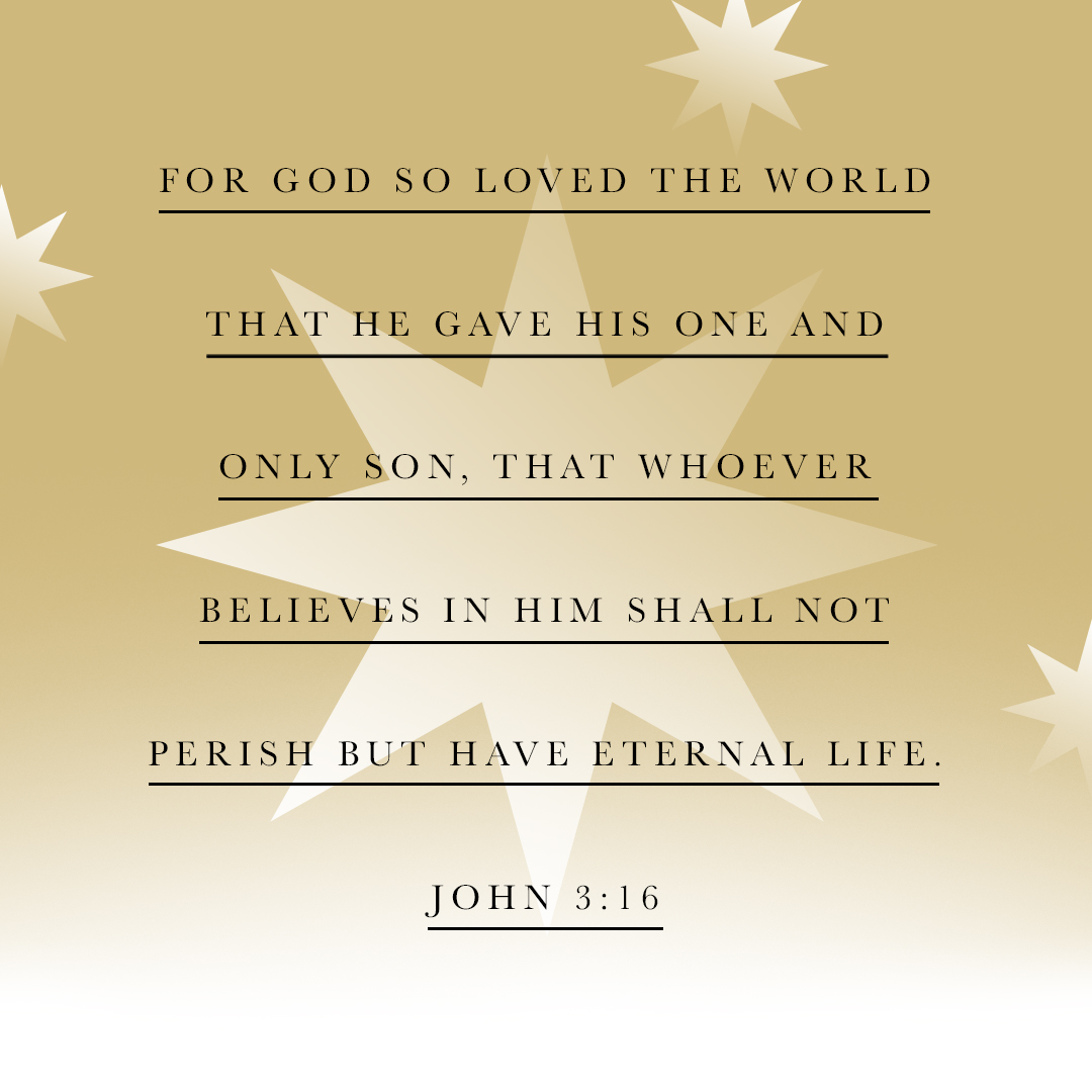 For God so loved the world that he gave his one and only Son, that whoever believes in him shall not perish but have eternal life. - John 3:16 - Verse Image