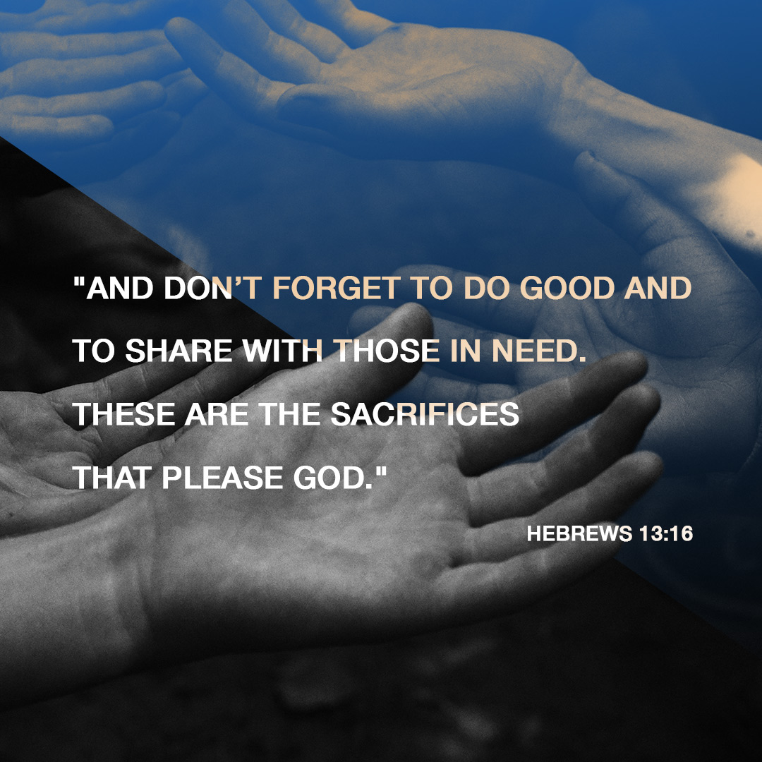 And don't forget to do good and to share with those in need. These are the sacrifices that please God. - Hebrews 13:16 - Verse Image