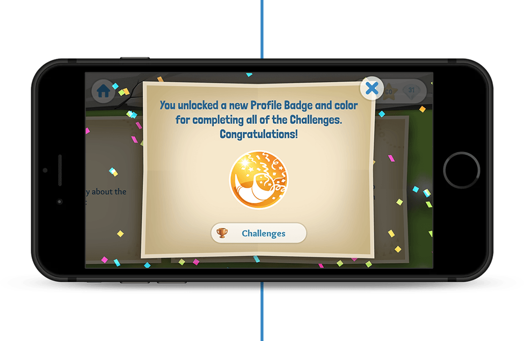 You unlocked a new Profile Badge and color for completing all of the Challenges. Congratulations!