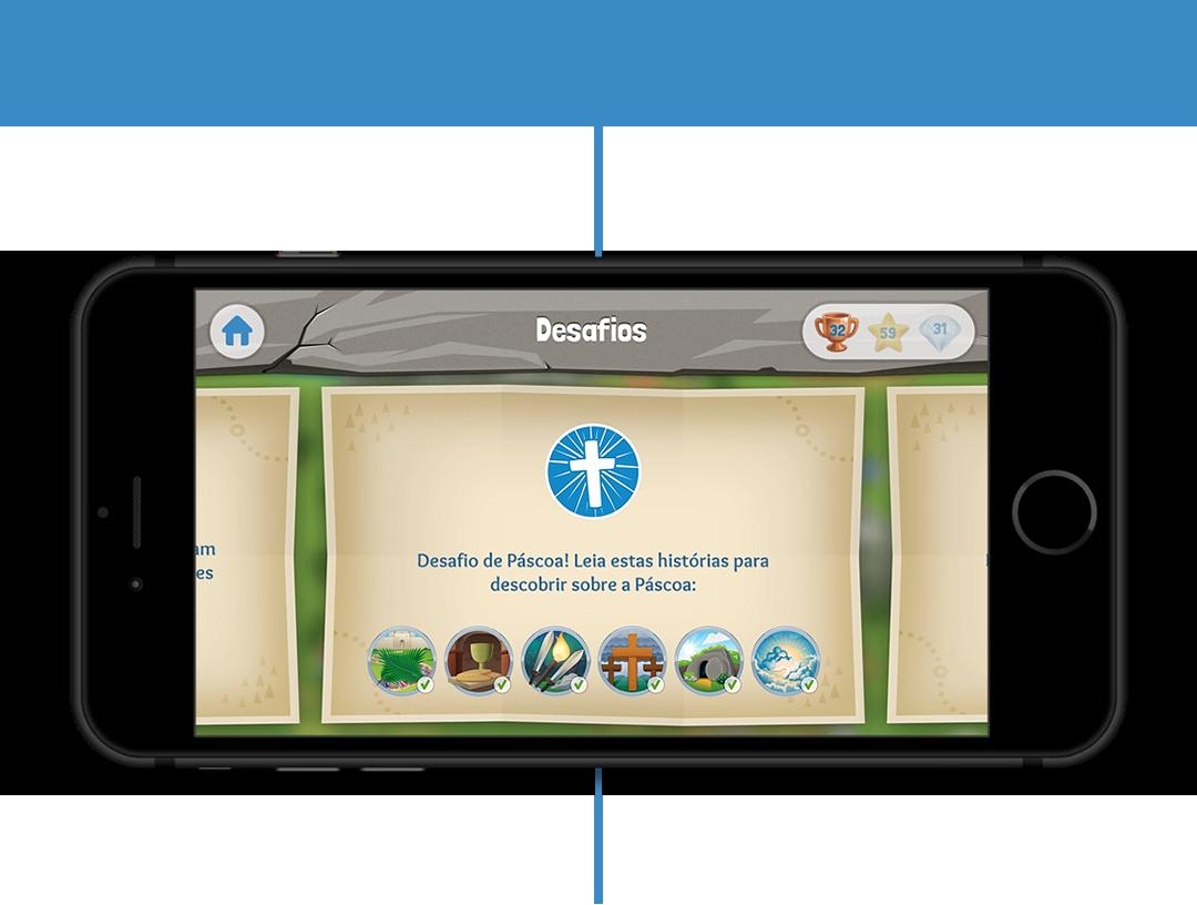 Desafios no App da Bíblia para Crianças