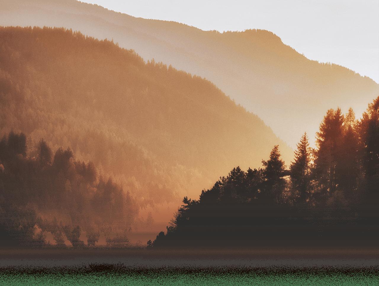 Sunset on mountainside