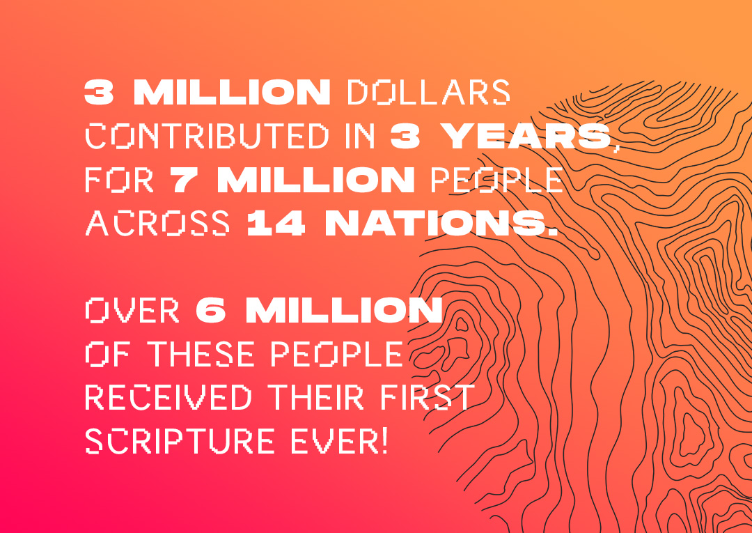 3 Million dollars contributed in 3 years, for 7 million people across 14 nations. Over 6 million of these people received their first scripture ever!