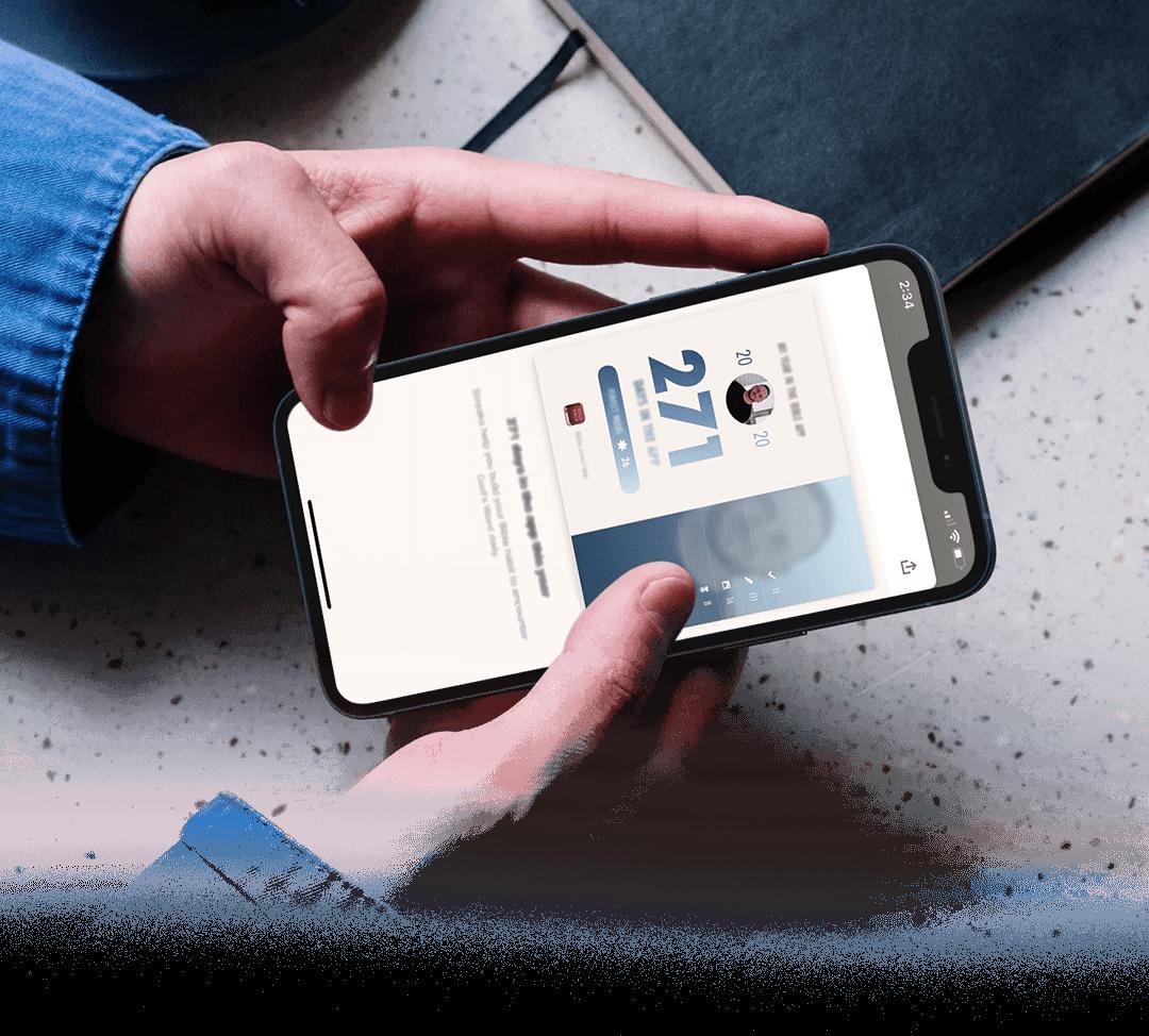 スマートフォンに表示された2020年のスナップショット画像