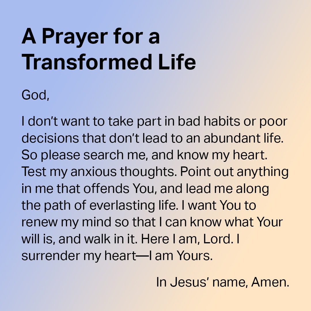A Prayer for a Transformed Life - shareable image